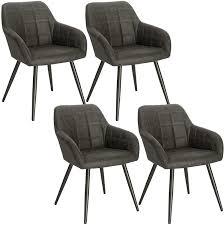 woltu 4 x esszimmerstühle 4er set esszimmerstuhl küchenstuhl polsterstuhl design stuhl mit armlehne mit sitzfläche aus stoffbezug gestell aus