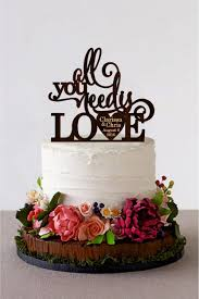 All You Need Is Love Wedding Cake Topper Rustic Custom Gold Or SIlver Metallic