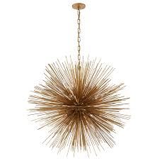 Brushed Brass Sunburst Chandelier For Attractive Dining Room Lighting Design