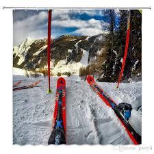 großhandel snow mountain ski duschvorhänge ski board sport hobby badezimmer dekor wasserdichte polyester home bad duschvorhang set 69x70 zoll