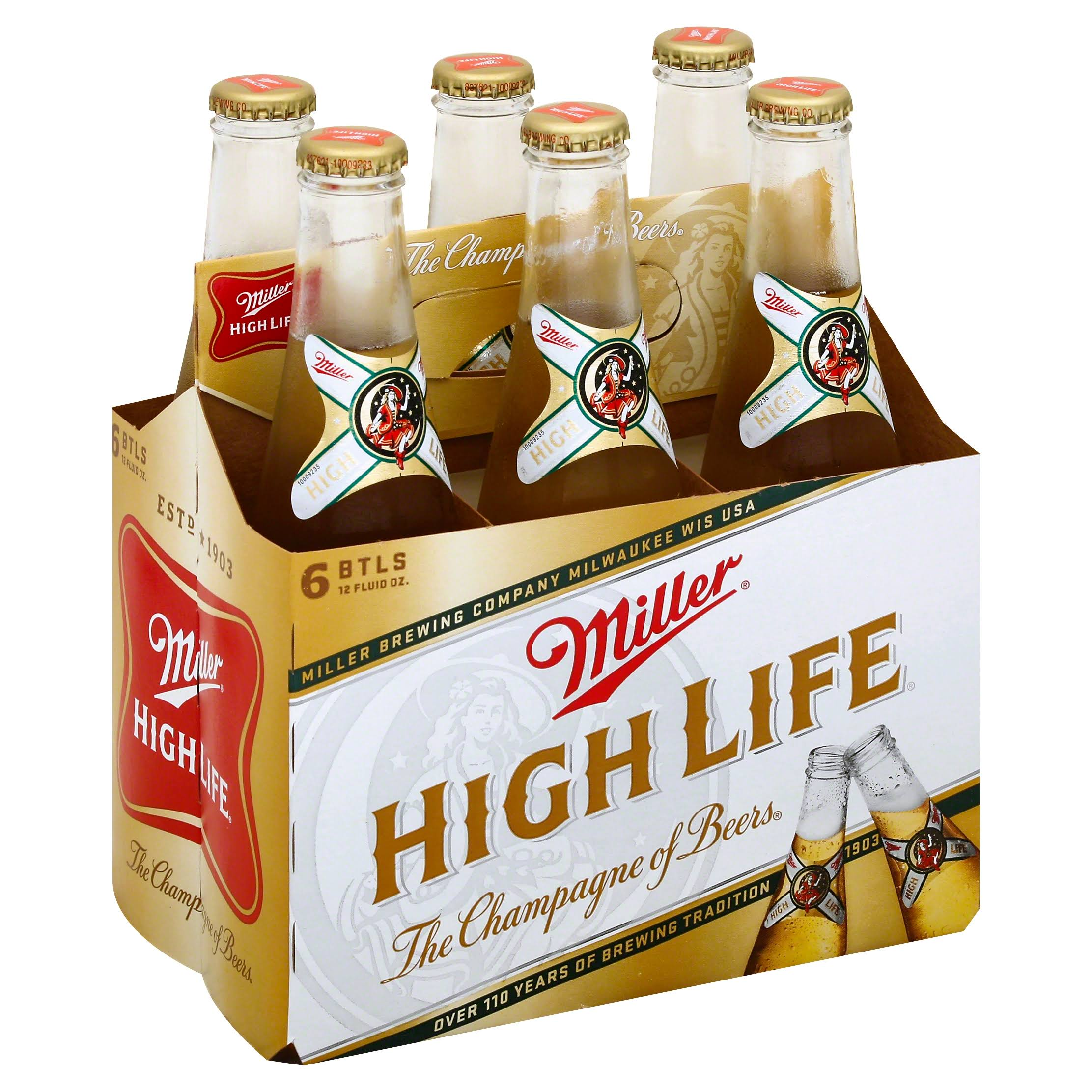 Miller High Life Beer - 6 Bottles