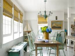 Beach House Cottage Decorating Idea With Bamboo Window Blinds And Rustic Dining Set