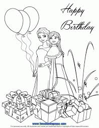 Frozen Sisters Birthday Coloring Page