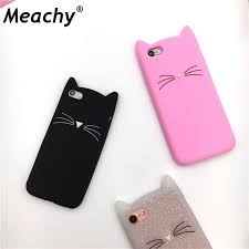 Meachy For iPhone 5 5s se 6 6s 7 Case Cute Cartoon Cat Cases 3D