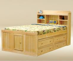 Natural Full Bed with Storage Drawers — Modern Storage Twin Bed