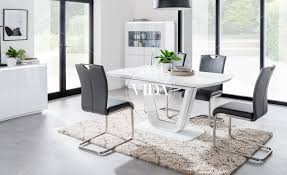 100 White Gloss Extending Dining Table And Chairs Lazzaro High 160 200CM Lazzaro