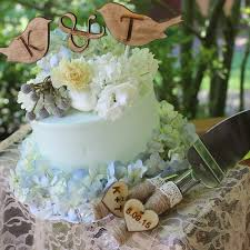 Rustic Love Bird Cake Toppers With Your Initials Or Names And Wedding Knife