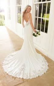 Backless Sleeveless V Neck Fit And Flare Romantic Sophisticated Wedding Dress 1
