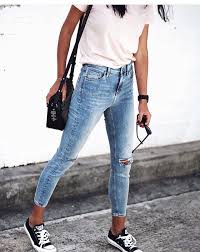 Fashionable Jeans And Converse Skinny White T Shirt Black Puuuurfect Outfit