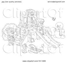 Clipart Of A Black And White Puppy Children Playing On Winter Playground
