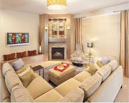 small living room with corner fireplace modern house