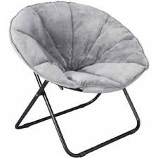 plush saucer chair foldable portable faux fur seat gray grey