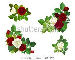 Roses And Leaves Corner Elements Maroon White For Design Greeting Card Border