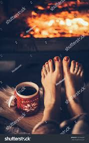 100 Foot Cozy Bare Woman Feet By Fireplace Stock Photo Edit Now 722746480