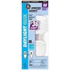 shop ge 15 watt 60w spiral medium base daylight 6500k cfl bulb