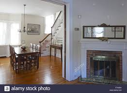 View Of Dining Room And Living Parlor Fireplace Queen Anne Victorian House