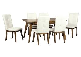 Rectangular Dining Room Table Two Tone Brown W 6 Upholstered Side Chairs