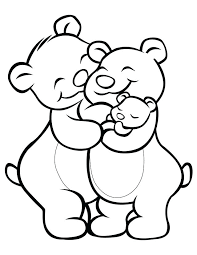 Cartoon Coloring Pages Bear Family Free Printable Characters