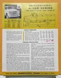 1957 International Harvester Truck Model A 160 Specification Sheet