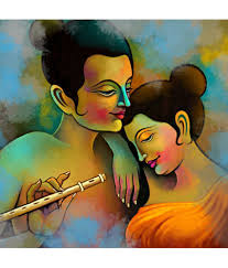 100 Krisana Art Factory Radha Krishna Canvas Painting
