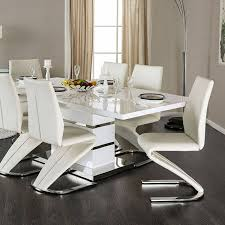Ortanique Dining Room Furniture by Midvale White Chrome Metal Solid Wood Dining Table Kitchen