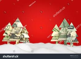 Holiday Christmas Savings Or Sale Advertisement Origami Money Trees In The Snow With A