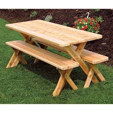 a u0026amp l furniture western red cedar crossleg picnic table with 2