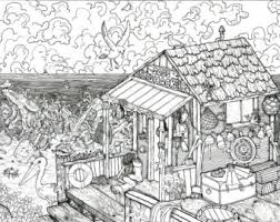 Beach Shack Pen And Ink Illustration PRINT Black White Coloring Page Fishing Birds Rocks