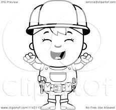Cartoon Clipart Of A Black And White Excited Handy Boy