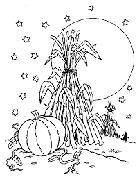 Pumpkin Patch Coloring Pages by Pumpkin With Corn Stack Familycorner Com