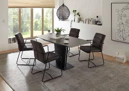 esszimmer essgruppe tisch ausziehbar komplettset glastisch stühle grau