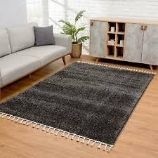 details zu teppich wohnzimmer hochflor anthrazit soft shaggy mit fransen