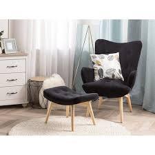 ohrensessel mit hocker schwarz samtstoff gummibaumholz moderner look für wohnzimmer schlafzimmer
