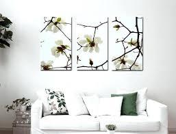 3 Piece Wall Decor Art White Flower Canvas Aqua Brown Floral