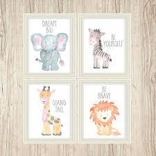 Safari Nursery Art Animal Paintings Baby Animal Prints Animal Watercolor Childrens Wall Decor Kids Room Elephant
