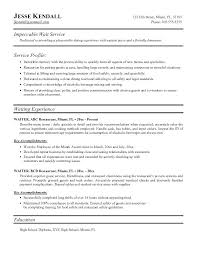 Sample Resume Of Waitress Waiter Word Impeccable Wait Templates For Restaurant
