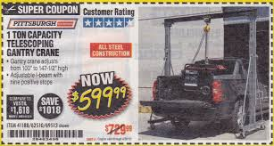 100 Harbor Freight Truck Crane 1 Ton Capacity Telescoping Gantry Expires 430 Struggleville