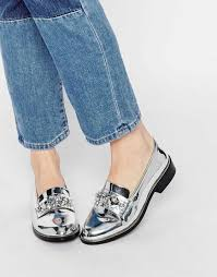 2016 Women Shoes Aldo Daines Silver Embellished Loafer Flat VKNWL06204104