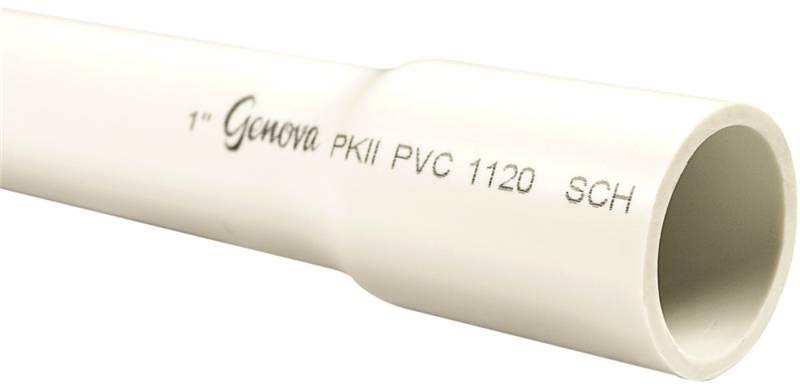Genova 300107 Schedule 40 PVC Pressure Pipe, 1-In. x 20-ft.