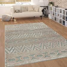 kurzflor teppich ethno design teppich teppich beige