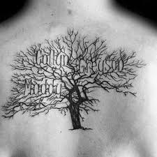 This Family Tree Tattoo Idea Is A Little Smaller And Simpler Most Of The Has Been Shaded Black Branches Are Spindly