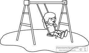 swing clipart black and white 3