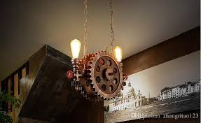 Rustic Style Loft Vintage Industrial Pendant Lights Simple Wood Gear Shape Antique Lamp Creative Edison Bulb Light Fixtures Lamparas For