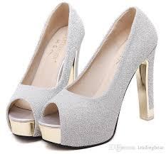Gorgeous Glitter Wedding Bride Shoes Silver Princess Shoes Ankle