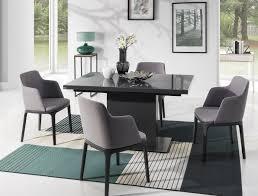 design esstisch tisch emn 3 grau seidenmatt mit grauglas 180 bis 230 cm ausziehbar design impex