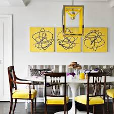 Contemporary Yellow And Gray Dining Room