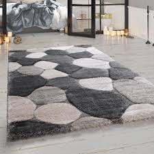 hochflor teppich wohnzimmer grau stein design weich gemütlich shaggy kuschelig grösse 60x100 cm