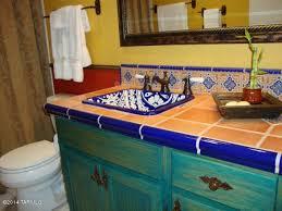 eclectic bathroom with tile drop in sink custom