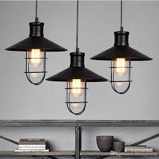 Rustic Pendant Lights Vintage Style Lamps Rounded Metal Lamp Shade Kichler Lighting Linear Suspension Black Color Kitchen