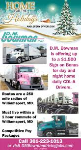 100 Home Daily Truck Driving Jobs CDLA Drivers Dm Bowman Logistics Hagerstown MD